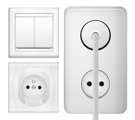switch plug: Realistic power socket, cable with plug and light switch. illustration in 3d realistic style. Isolated object.