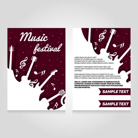 Festival musicale modello di progettazione brochure volantino. Vector manifesto concerto illustrazione. layout di copertina volantino in formato A4.