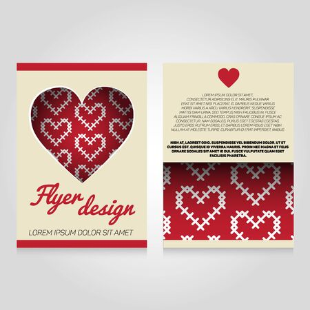 flier: Brochure flier design template with heart pattern. Vector love poster illustration. Leaflet cover layout in A4 size.