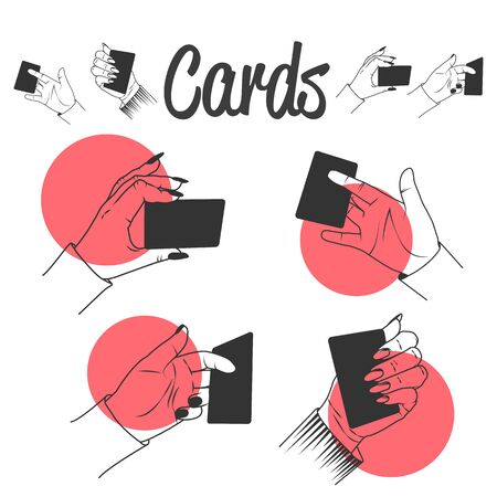 Human hands playing with cards. Magic tricks with cards. set of labels, emblems, icons and isolated on white background. Stock Photo
