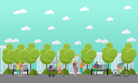 spend the summer: Family in park concept banner. People spending time with kids and friends in park. Vector illustration in flat style design.
