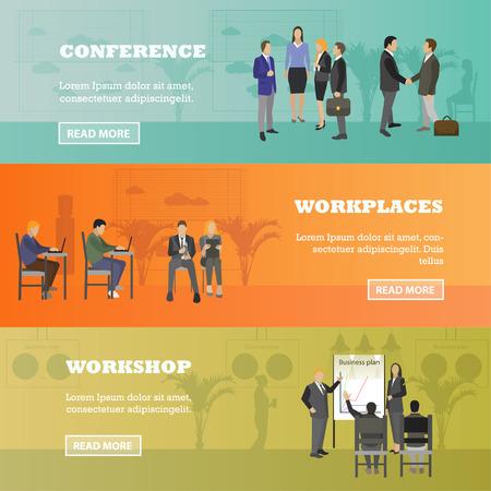 Diseño plano de la gente de negocios o trabajadores de oficina. Presentación de negocios y reunión. bandera interior de la oficina. desarrollo de negocios, finanzas, marketing, trabajo en equipo
