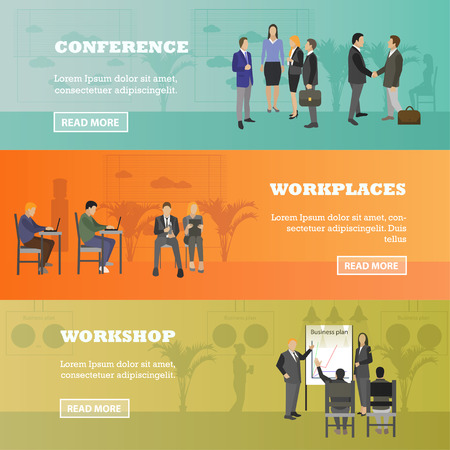 Flat design of business people or office workers. Business presentation and meeting. Office interior banner. Business development, finance, marketing, teamwork