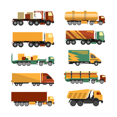 tanker type: Vector set of trucks icons isolated on white background. Delivery and shipping cargo vehicles. Transportation design elements in flat style.