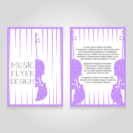 flier: Music festival brochure flier design template. Vector concert poster illustration. Leaflet cover layout in A4 size.