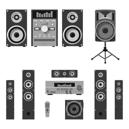 Vector set of audio and music systems icons. Loudspeakers isolated on white background Illustration