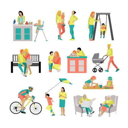 Vector set van mensen in situaties thuis en in het park. Vector illustratie in vlakke stijl, iconen op een witte achtergrond. Familieleden samen tijd doorbrengen. Vector Illustratie