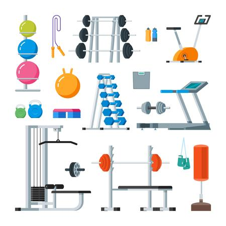 cross bar: Fitness and workout exercise in gym. Vector set of gym icons in flat style isolated on white background. Gym equipment, dumbbell, weights, treadmill, ball.