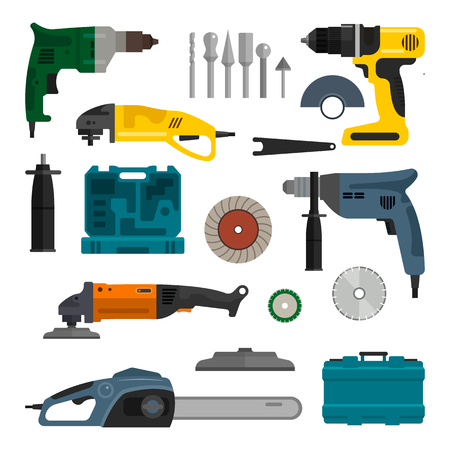 Vector set of power electric tools. Repair and construction working tools. Design elements and icons isolated on white background. Ilustrace