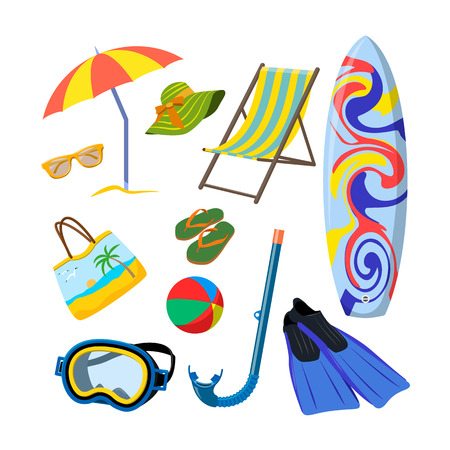 surfboard fin: Vector set of summer objects isolated on white background. Design elements and icons in flat style. Beach vacation concept.
