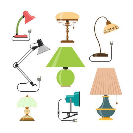 table lamps: Vector set of home lamps. House light and table lamps. Design elements in flat style and icons isolated on white background. Stock Photo
