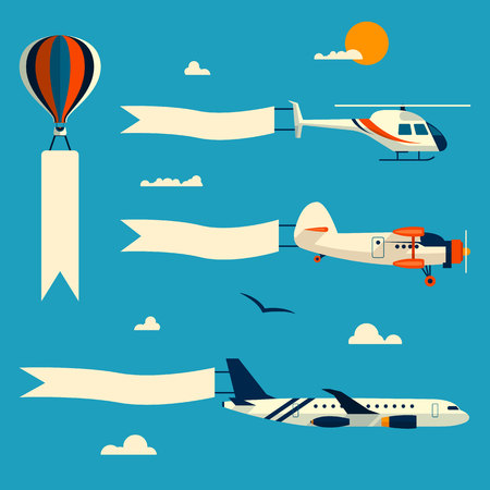 aircraft aeroplane: Vector set of flying balloon, helicopter, airplane and retro biplane with advertising banners. Template for text. Design elements in flat style.