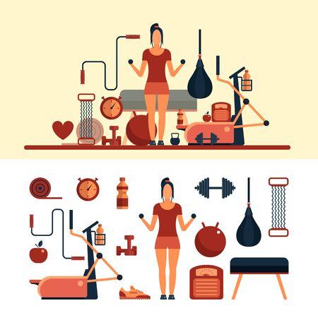 Fitness Sport Objekte auf weißem Hintergrund isoliert. Vector Design-Elemente und Symbole. Frau trainieren in einem Fitnessstudio. Fitnesscenter und Fitnessgeräte.