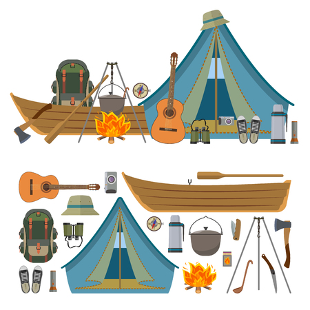 survival knife: Vector set of camping objects and tools isolated on white background. Camp equipment icons, tourist tent, boat, backpack, fire, guitar.