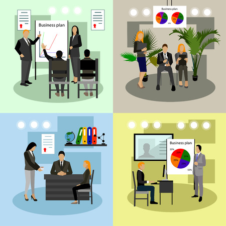 Vector set of business presentations and meetings banners. Flat design of business people or office workers. Office interior.