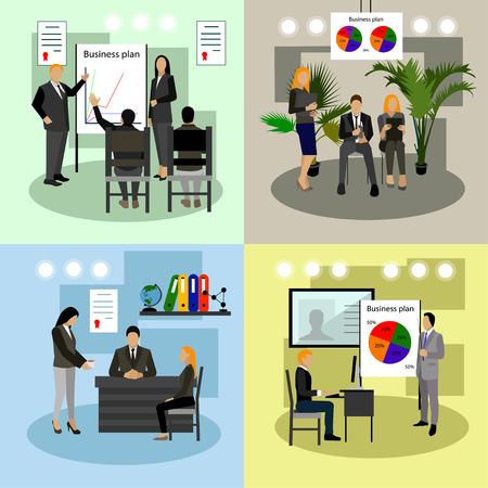 Vector conjunto de presentaciones de negocios y reuniones banderas. Diseño plano de la gente de negocios o trabajadores de oficina. entre la oficina.