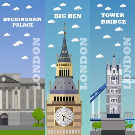 buckingham: London tourist landmark banners. Vector illustration with London famous buildings. Tower bridge, Big Ben and Buckingham Palace.