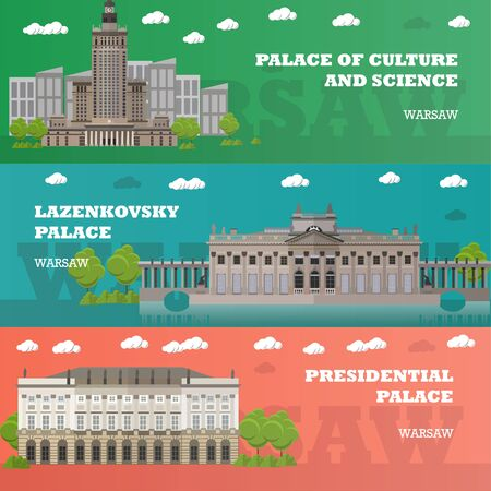 european culture: Warsaw tourist landmark banners. Vector illustration with Poland famous buildings. Travel to Poland concept. Stock Photo