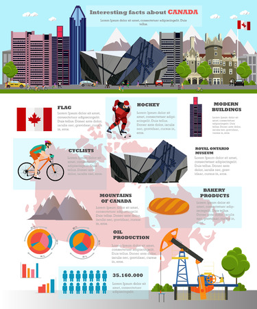 ben oil: Travel to Canada concept vector illustration. Infographic elements, icons and interesting facts about Canada. Canadian landmarks and destinations.