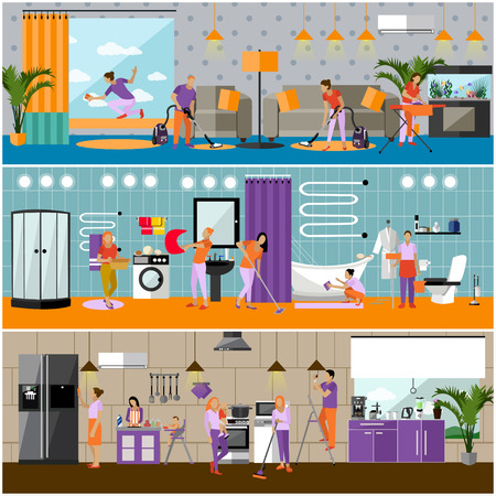Vector set of cleaning service concept banners. People cleaning house, kitchen, bathroom and living room. Apartment interior. Housekeeping company team at work. Vettoriali