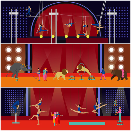 performers: Vector set of circus interior concept banners. Acrobats and artists perform show in arena. Circus interior. Animals show and performance. Illustration
