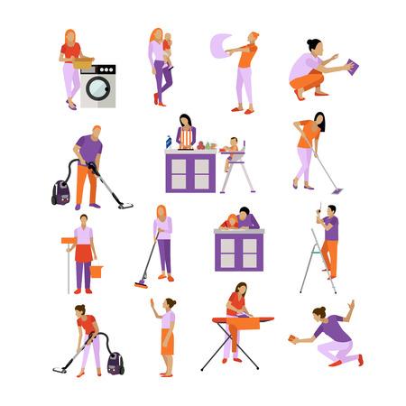 Vector set van schoonmaak werknemers. Mensen aan het schoonmaken huis, op een witte achtergrond. Housekeeping bedrijf team op het werk. Vector Illustratie