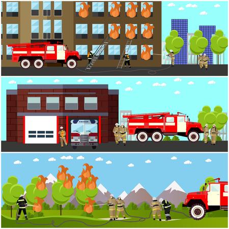 prendió fuego departamento de lucha banderas horizontales del vector. parque de bomberos y los bomberos. Camiones y la construcción.