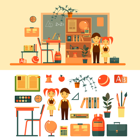 pupil's: Vector set of school related objects isolated on white background. School icons in flat style, books, pupils, blackboard, shelf, pen, school desk. School classroom with chalkboard and desk. Illustration