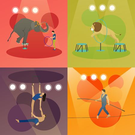 manege: Vector set of circus concept banners. Acrobats and artists perform show in arena. Animals show and performance. Illustration