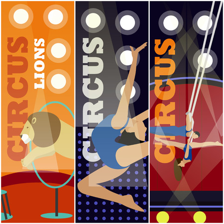 manege: Vector set of circus concept banners. Acrobats and artists perform show in arena. Circus interior. Animals show and performance.