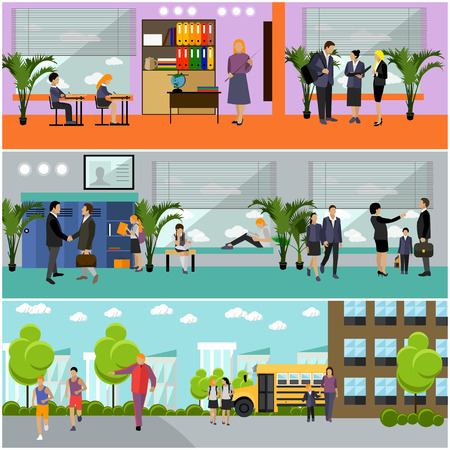 pupil's: Vector set of school concept banners. School interior, pupils studying in classroom, teachers. School yard, building and school bus. Illustration