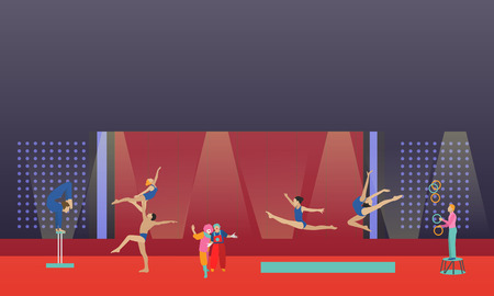 Circus interior concept vector banner. Acrobats and artists perform show in arena. Circus interior. Illustration