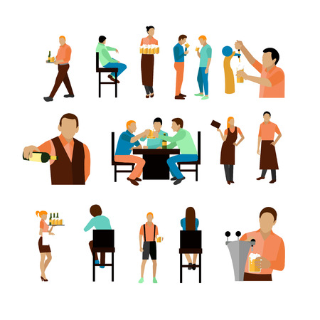 visitor: Vector set of beer bar workers and visitor isolated on white background. Beer restaurant icons and design elements. People drinking beer in a bar.