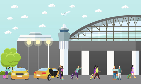 passengers: Taxi service company vector concept banner. People catch taxi in airport. Passengers in taxi car.
