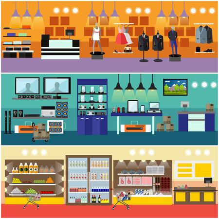 De compras en un centro comercial concepto vector de la bandera. La electrónica de consumo interior del almacén. Productos de supermercado de alimentos. Ilustración de vector