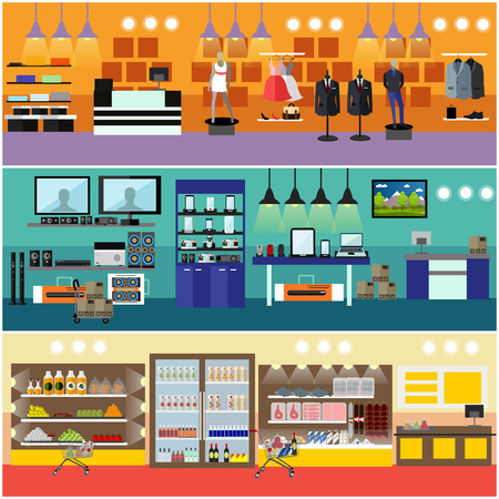 consumer electronics: Shopping in a mall concept vector banner. Consumer electronics store Interior. Products in food supermarket.