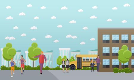 school yard: School concept vector banner. School yard, building and school bus.