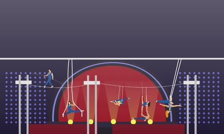 manege: Circus interior concept vector banner. Acrobats and artists perform show in arena. Circus interior. Illustration