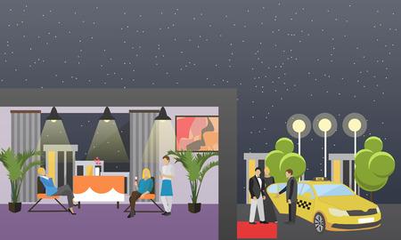 passengers: Taxi service company concept vector banner. People catch taxi on a street. Passengers in taxi car.