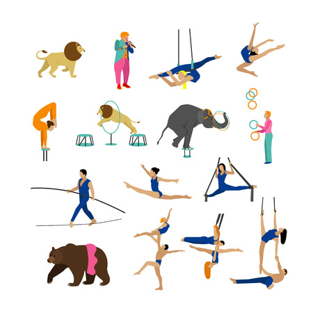 Vector set of circus artists, acrobats and animals isolated on white background. Circus show icons and design elements. Illustration