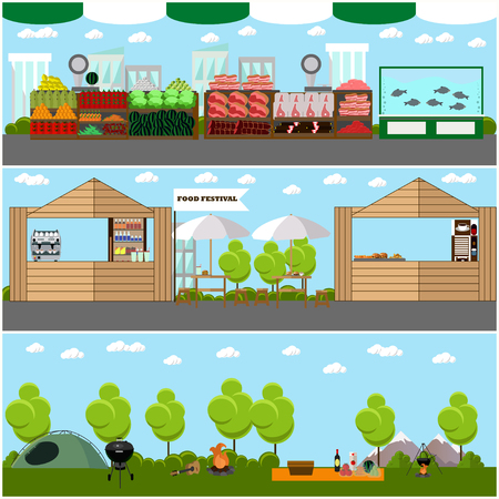 camping site: Vector set of street food festival concept banners. Camping site in a park.