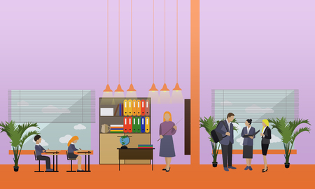 Concepto de la escuela vector de la bandera. Interior de la escuela, los alumnos que estudian en el aula, los maestros.