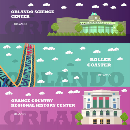 american history: Orlando tourist landmark banners set. Vector illustration with American famous buildings. Roller coaster, history center. Travel to Florida concept.