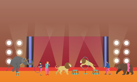 manege: Circus interior concept vector banner. Artists perform show in arena. Circus interior. Animals show and performance.