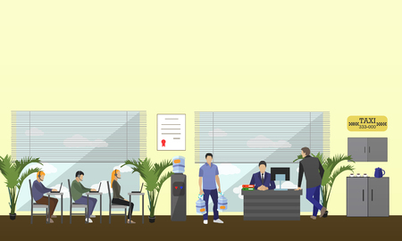 man customer support: Call center interior vector banner. Customer service and support company concept. People work in call center. Man and woman in headsets. Illustration