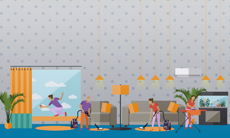 apartment living: Cleaning service concept vector banner. People cleaning house. Apartment living room interior. Housekeeping company team at work.