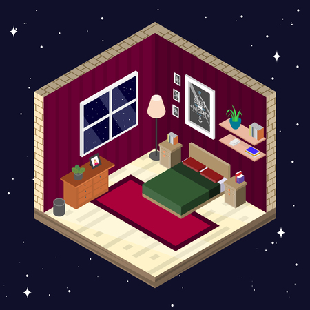 bedroom furniture: Room interior in isometric style. Bedroom with furniture vector illustration.