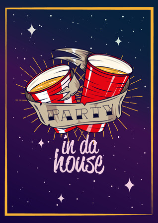 party club: Party concept poster vector illustration. Night club drinks. Graphic design poster template.