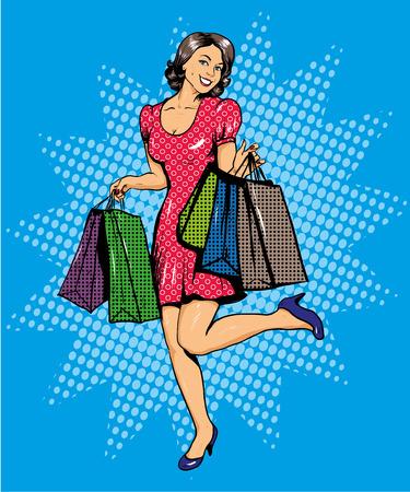 Femme avec des sacs shopping. Vector illustration dans la bande dessinée pop style art. Vente spéciale offre affiche publicitaire. Vecteurs