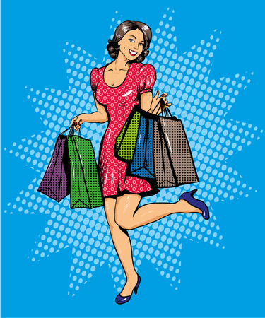 casual dress: Woman with bags shopping. Vector illustration in comics pop art style. Special sale offers advertising poster.
